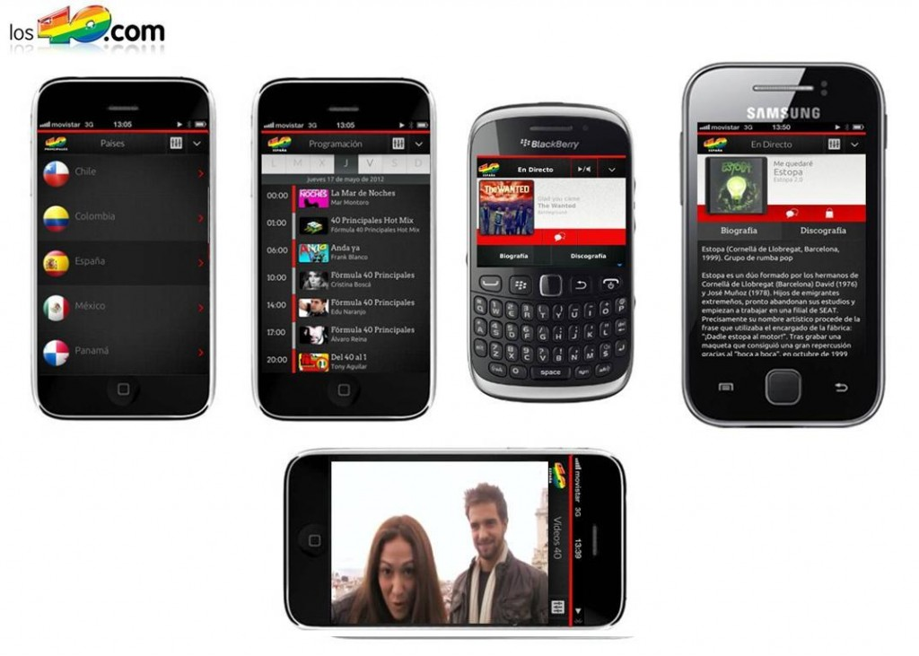 Los 40 Principales lanza una app multipaís para iPhone, Android, BlackBerry y Windows Phone