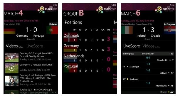 Euro 2012 ya permite seguir la Eurocopa también en Windows Phone