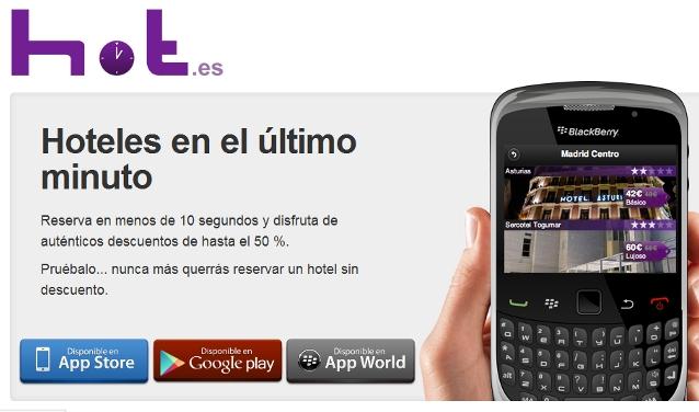 Hot.es ya permite reservar hoteles de último minuto desde BlackBerry