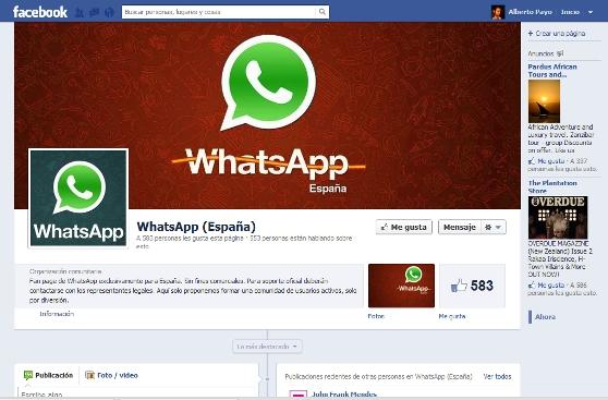 WhatsApp abre una fanpage de Facebook solo para usuarios españoles