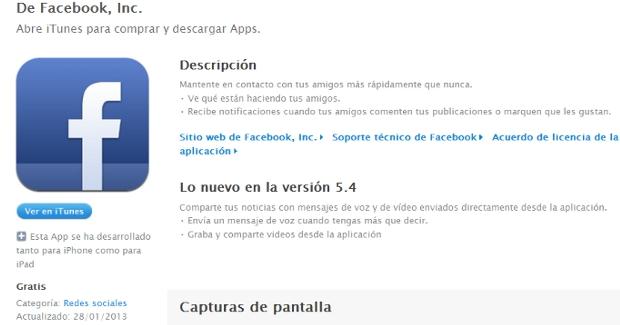 Facebook incluye grabación de vídeo en su app de iPhone