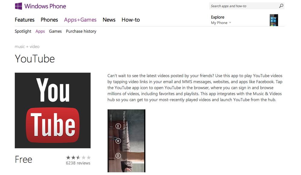 La app de YouTube para Windows Phone provoca una intensa polémica entre Google y Microsoft