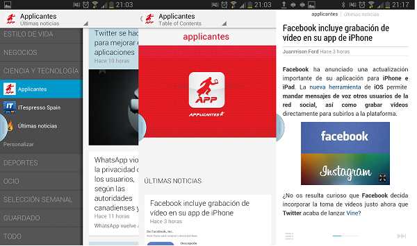 google currents applicantes pantallazo