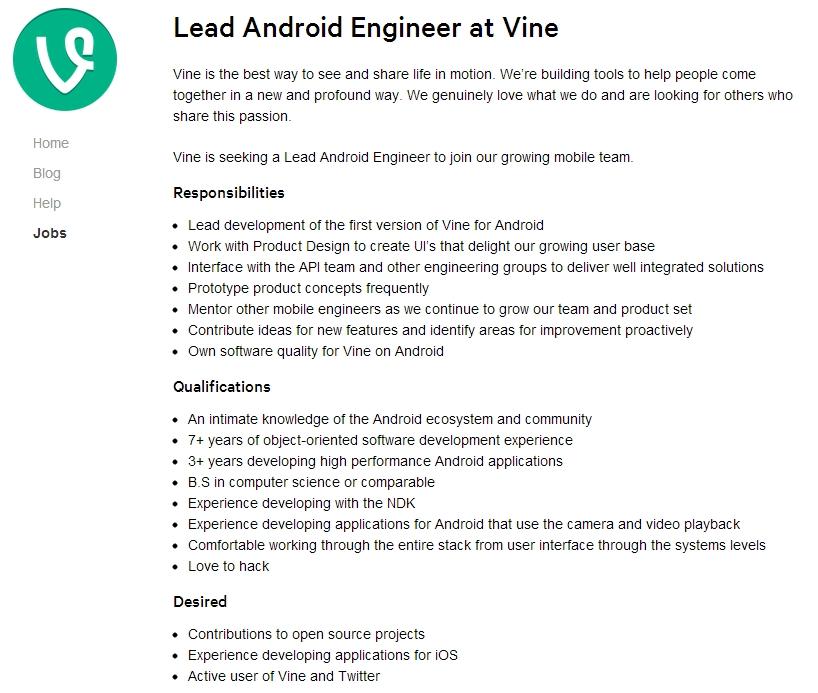 Vine busca a un ingeniero para desarrollar su versión de Android