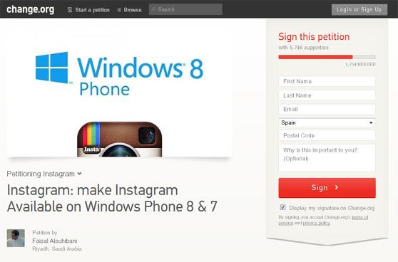 Una campaña en Change.org solicita a Instagram que se acuerde de Windows Phone