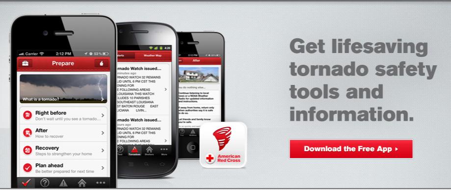 Una aplicación de la Cruz Roja Americana para alertar de tornados