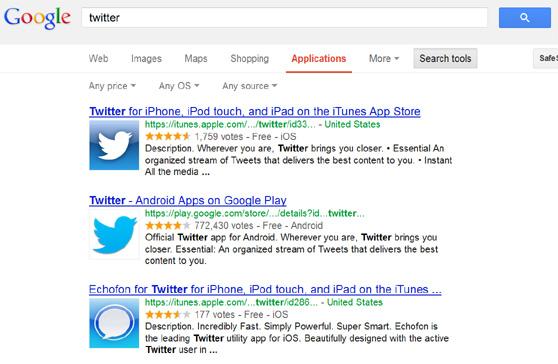 Google incorpora la opción de encontrar aplicaciones desde su barra de búsquedas