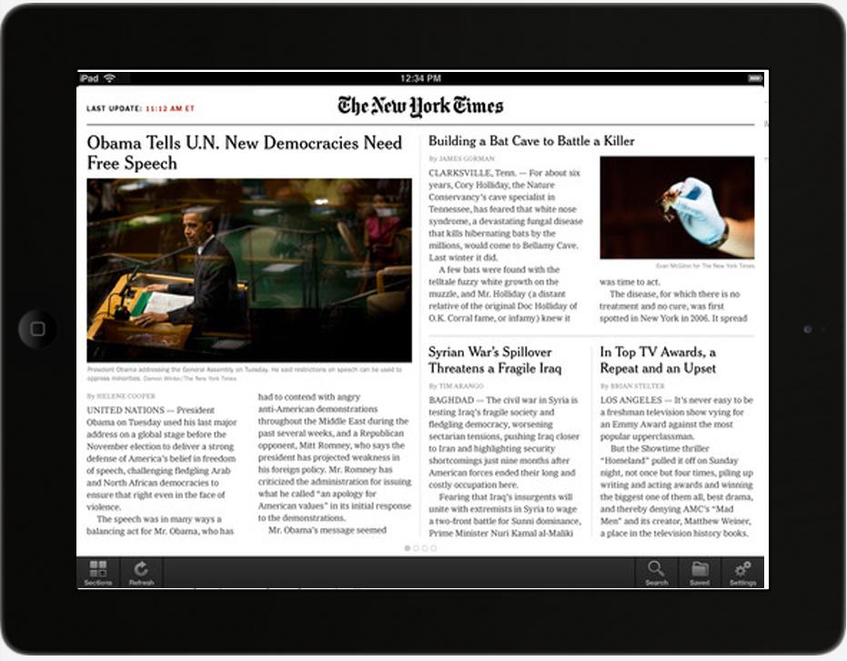 El New York Times rediseña su web pensando en el iPad
