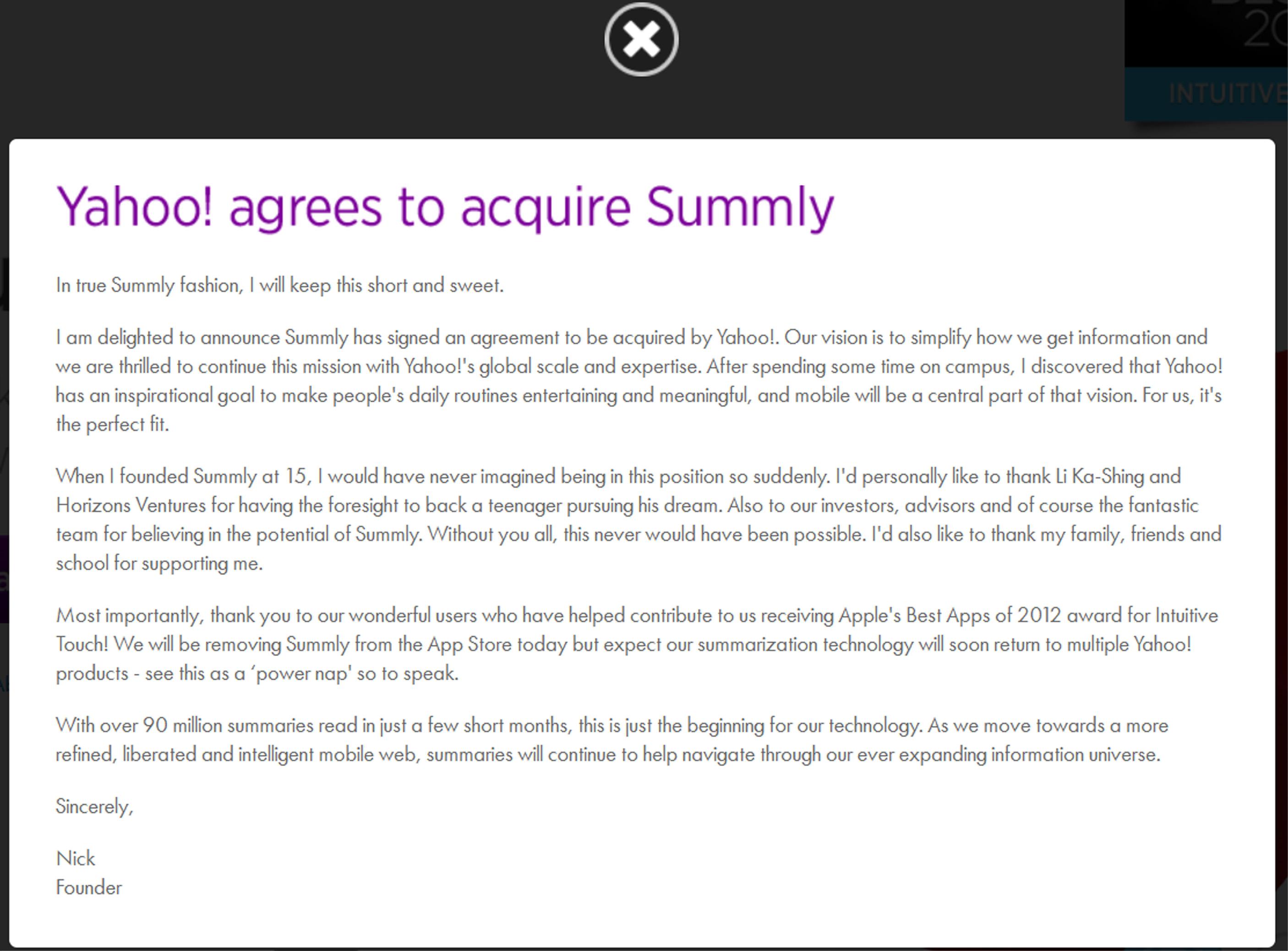 Yahoo! compra Summly, la aplicación de un chaval de 17 años