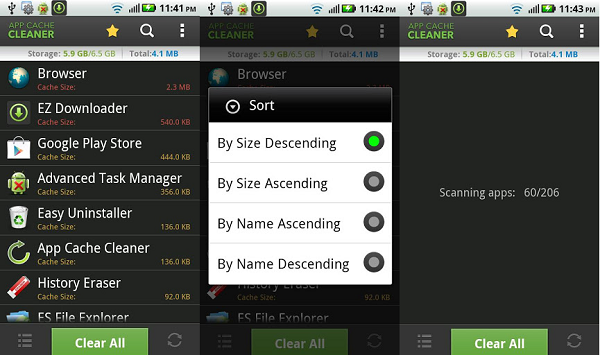 app cache cleaner screen shots
