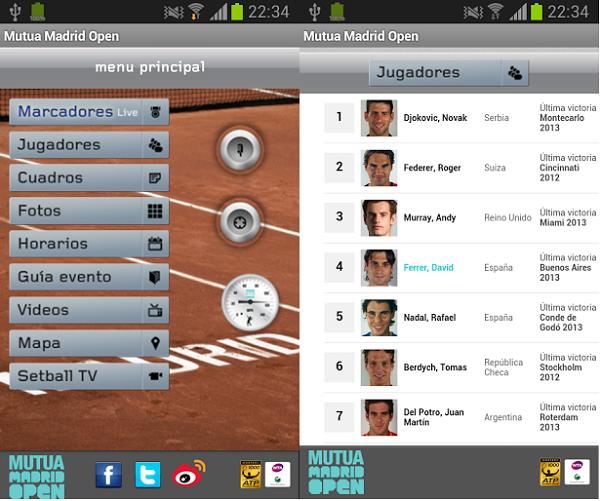 Mutua Madrid Open app oficial screenshot