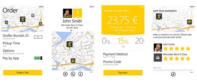 mytaxi baja la bandera en Windows Phone