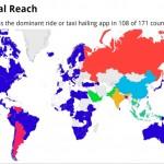 Uber ya es la app de taxis más usada en 108 países