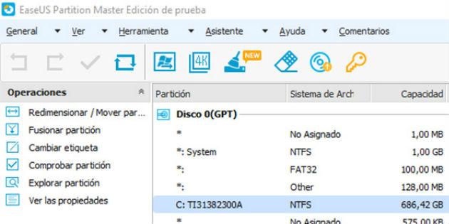EaseUS Partition Master Free gestiona las particiones de tu disco duro