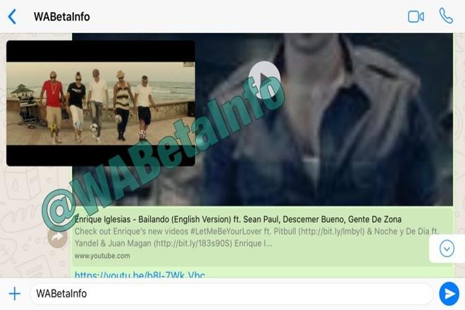 WhatsApp permitirá visualizar vídeos de YouTube dentro de la aplicación