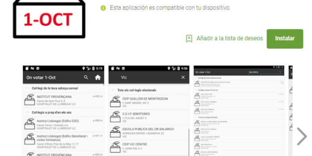 La app On Votar 1-Oct, retirada de Google Play por orden judicial