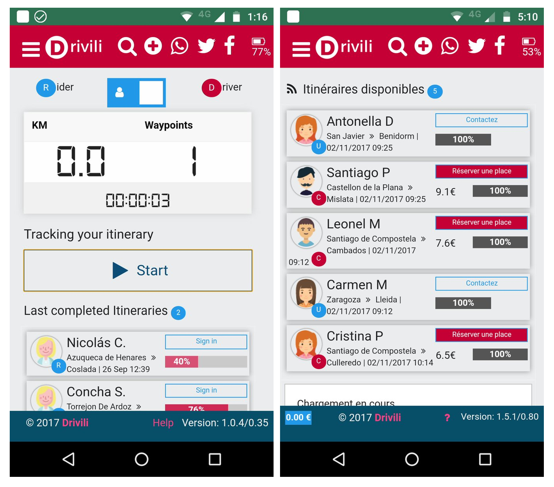 Drivili, la app para hacer carpooling en tiempo real