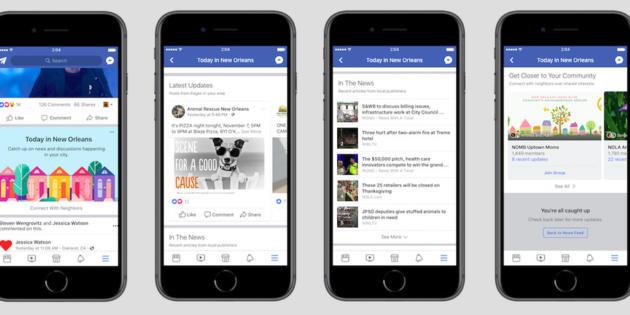 Facebook podría añadir una nueva sección a su app para noticias y eventos locales