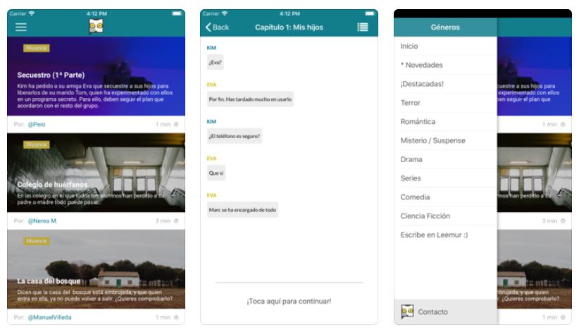 La app para leer historias de chat Leemur, ya disponible en iOS