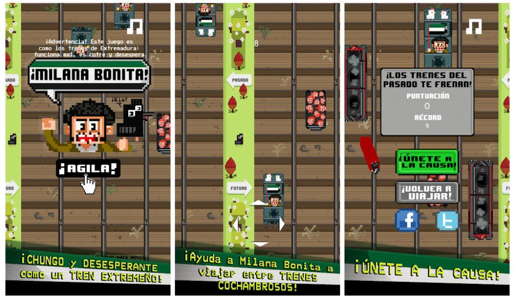 Milana Bonita, el juego móvil que critica la precariedad de los trenes extremeños