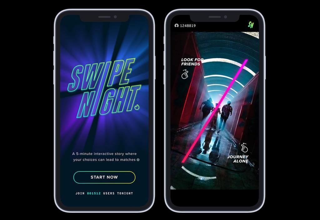 Tinder lanza Swipe Night, una experiencia interactiva para conseguir más matches