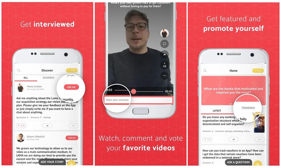 Lama, la app que ayuda a los emprendedores noveles a hacer sus primeras entrevistas en vídeo