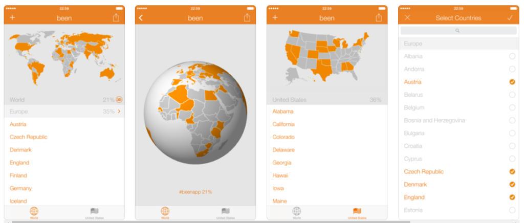 Been, la app para que fardes de los países que has visitado