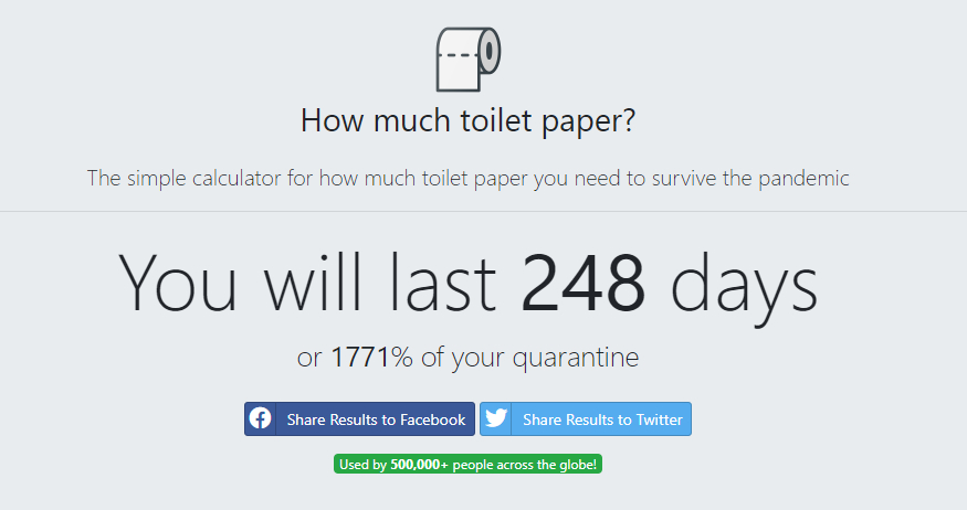 Esta app te dice la cantidad de papel higiénico que necesitas para pasar la cuarentena