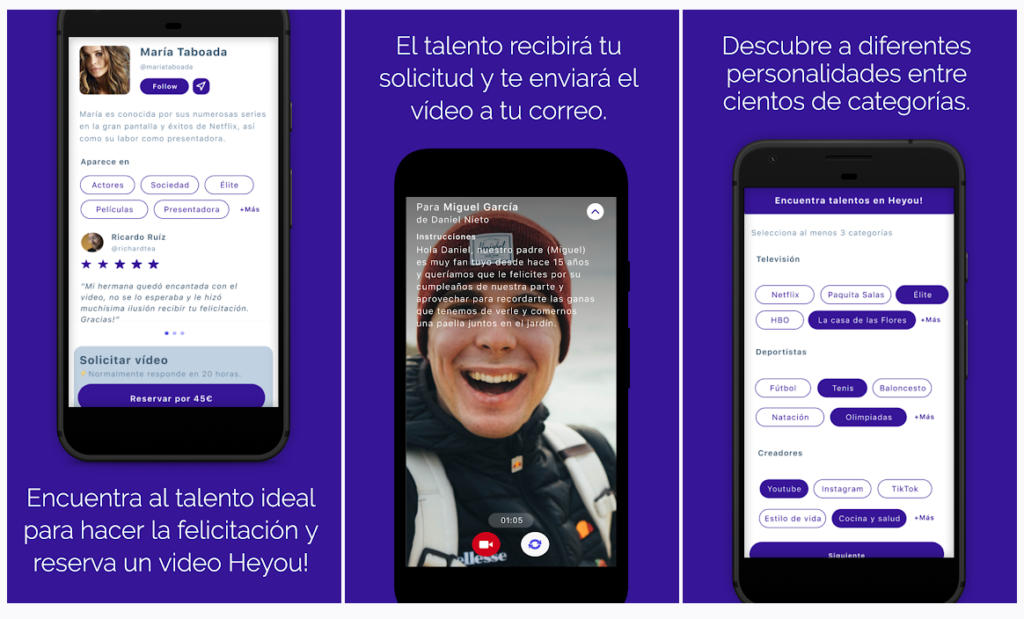 Heyou permite pedir a los famosos vídeos personalizados para sorprender a amigos y familiares
