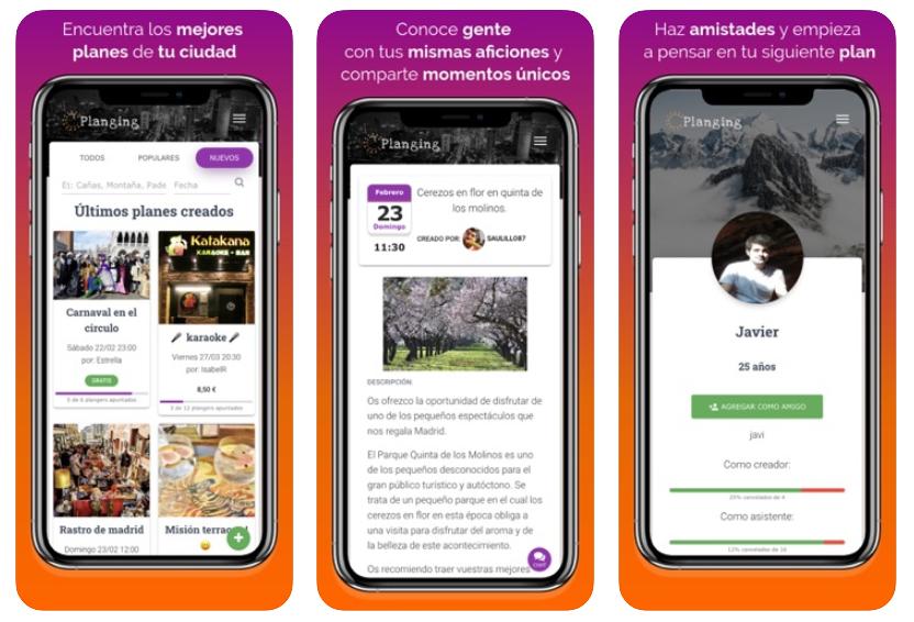La app para hacer planes Planging da el salto a iOS