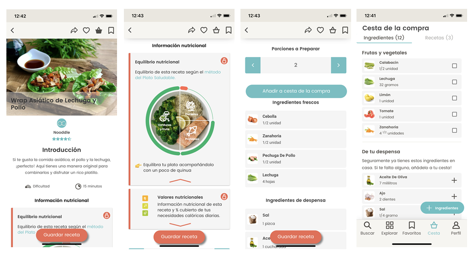 La app de recetas Nooddle incluye un servicio de Cesta de la Compra