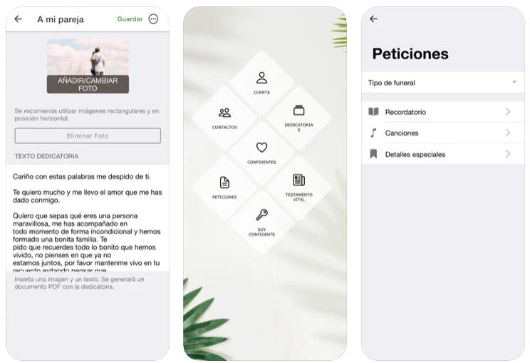 Esta aplicación te permite organizar tu propio funeral y crear un testamento social