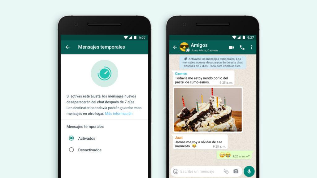 Los mensajes temporales de WhatsApp ya están disponibles en España