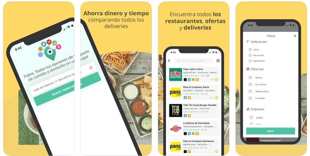 Fidmi te ayuda a comparar ofertas entre servicios de reparto de comida a domicilio
