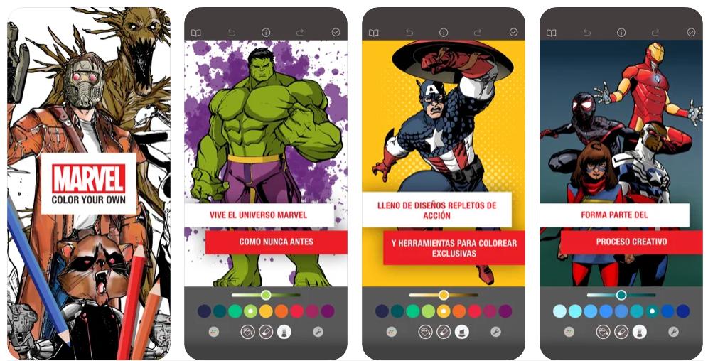 Colorea superhéroes de Marvel con Marvel Color Your Own