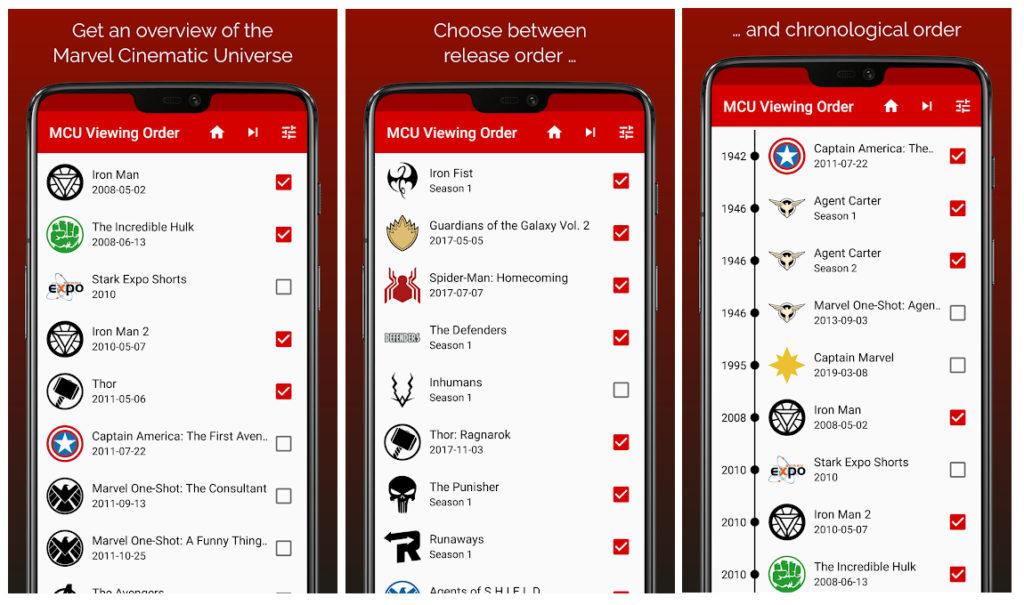 MCU Viewing, la app que pone orden al Universo Cinematográfico de Marvel