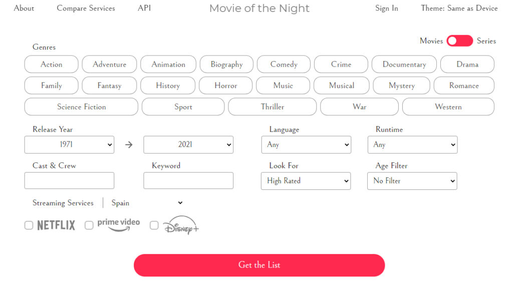 Movie of The Night, la app que te dice qué peli o serie ver esta noche según distintos filtros