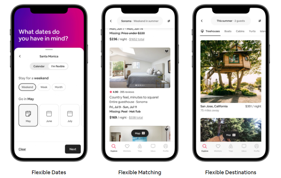 Airbnb introduce las búsquedas flexibles de fechas y destinos en su aplicación móvil