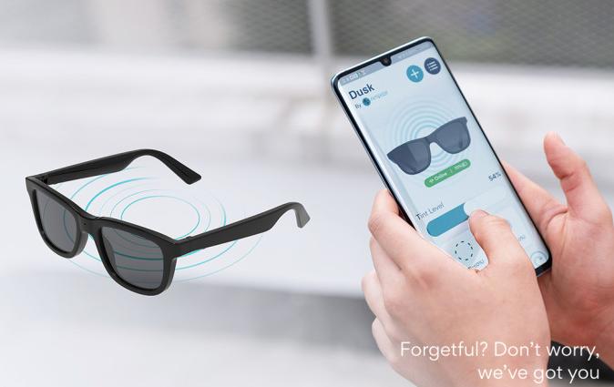 Estas gafas de sol te permiten controlar el tintado de los cristales y el grado de luz que entra con una app