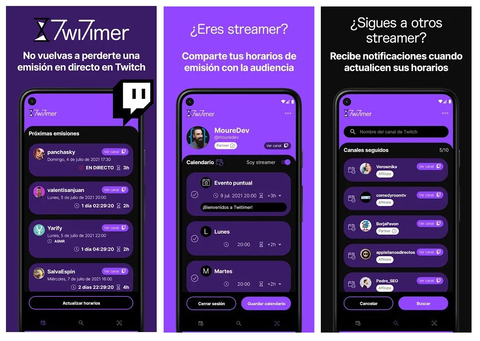 Twitimer, la app para estar al tanto de las emisiones de tus streamers de Twitch favoritos