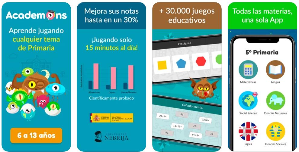 Academons, una app de apoyo para que los niños repasen los contenidos de clase de forma lúdica